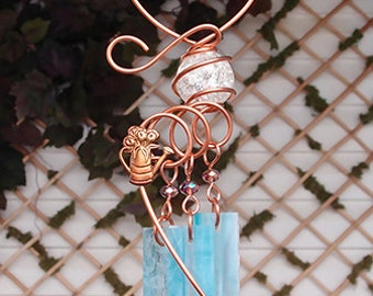 Flower Can Windchime Glass Wind Chimes Copper Garden Ornament Art Sculpture Stained Glass Metal Blue