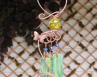 Butterfly Windchime Glass Wind Chimes Copper Garden Ornament Art Sculpture Stained Glass Metal