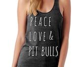 Peace Love and Pit Bulls Ladies Heathered Tank Top Shirt screenprint Alternative Apparel