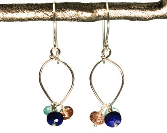 Lapis lazuli earrings sterling silver sunstone rainbow moonstone lotus loop