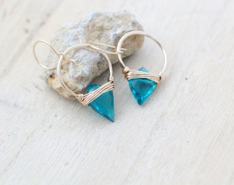 Arrowhead Hoop Earrings , Teal Quartz Gemstone In Gold , Rose , Sterling Silver , Modern Tribal Fashion - Albatross