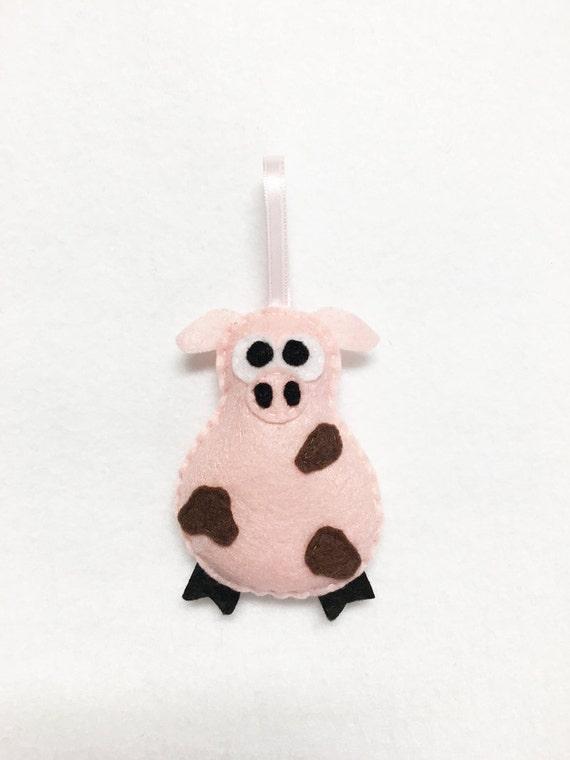 Pig Ornament, Christmas Ornament, Cheryl the Muddy Pig - Made to Order, Farm Animal, Felt Ornament