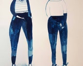 Ladies in trousers no 1 - Gouache painting on paper
