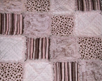 Custom Rag Quilt Personalized Pink n Brown Toile Minky Dot Baby Girl Toddler Teen or Adult ** Made To Order **