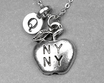 Big apple Necklace, New York necklace, apple Necklace, big apple charm, NY necklace, personalized gift, initial necklace, monogram initial