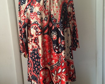 Psychedelic Paisley Indorables of California New Old Stock Tunic and Pant Lounge Set Navy and Red Slinky Nylon Screen Print
