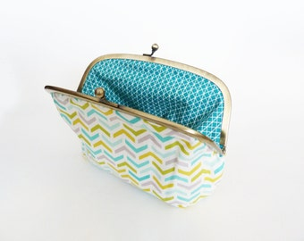 Cosmetic bag, turquoise green and white geometric fabric, cotton purse