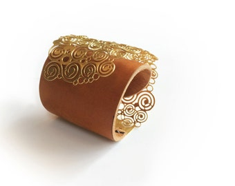 Gold And Leather Cuff, Gold Bracelet, Boho Chic, Brown Natural Leather, Lace Gold Bracelet ,Contemporary Gold Cuff, Gold Statement Jewelry
