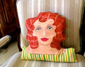 new ELOISE SCULPTURED PILLOW, hand painted, shaped pillow, sofa pillow, red hair, art deco, 15 in X 13 in, bed pillow, sage green, gold,