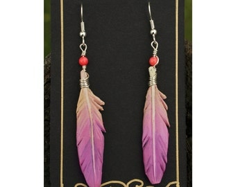 Pink and Purple Feathers- 2 Inch Leather Feather Earrings - Hand Painted Leather Bird Feather Earrings