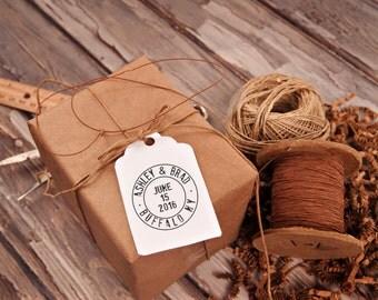 Round rubber clear block stamp, Destination Wedding, Travel Stamp, Wedding Gift, Newlywed Gift, Custom Wedding Stamp --13032-CB17-000
