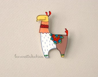 Llama brooch, Animal brooch, illustrated jewelry