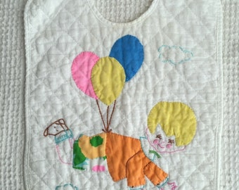 Vintage Applique and Embroidered Bib on White Quilted Fabric - Cute Boy with Balloons