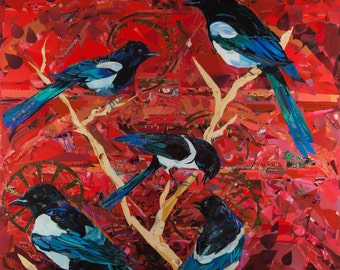 Collage of Magpies  We Called In the Seraphim (but you had flown away)