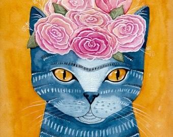 CAT Art Frida Catlo in Blue Original Cat Folk Art Watercolor Painting