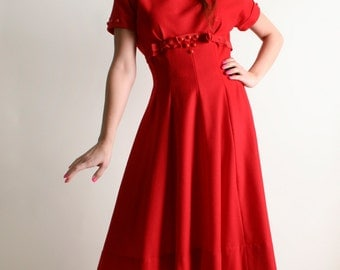 Vintage 1960s Red Wool Dress - Holiday Party Sweetheart Dress - Medium
