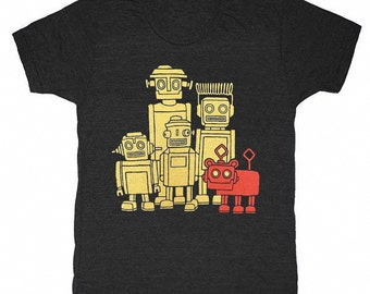 Vintage Robots - TRIBLACK - Unisex Mens T-shirt Retro SciFi Tee Shirt Awesome Funny Geek Science Fiction Nerd Robot Techie Technology Tshirt