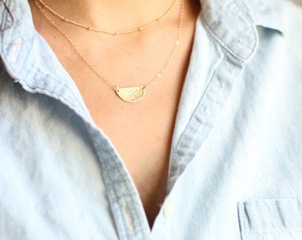 Hammered Half Moon Semicircle Necklace - Gold Fill or Sterling Silver