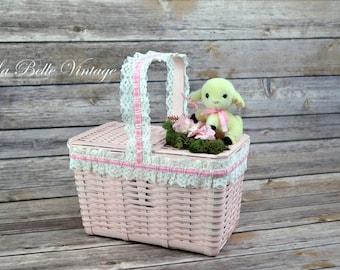 Pink Novelty Purse ~ Vintage Mary's Lamb Wicker Basket ~ Bo Peep's Sheep