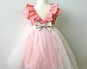 Rose Gold Tulle Party Dress for Toddler and Girl, Birthday, Wedding, Holiday, Flowergirl