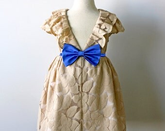 Beige and Cornflower Blue Lace Dress, Flower Girl, Special Occasion