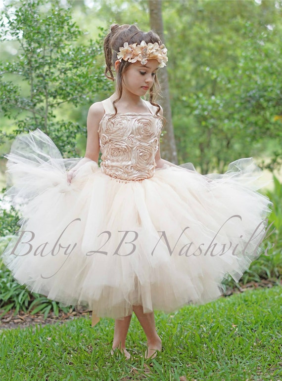 Champagne Dress Gold Dress Flower Girl Dress Tulle Dress Wedding Dress Satin Dress Party Dress Toddler Tutu Dress Girls Tulle Dress