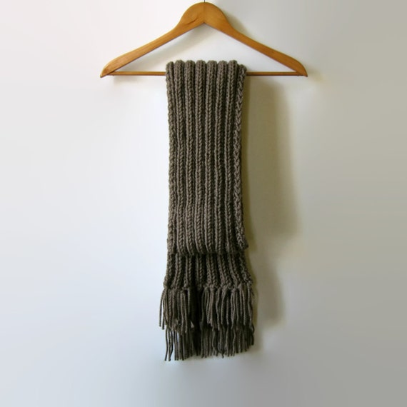 Coffee Brown Wool Chunky Knit Scarf With Fringes, Hand Knitted, Mens Winter Scarf, Handmade, Knitted, Womens Scarves, Fashion Scarves