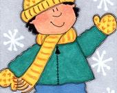 "ACEO - SFA - Original Illustration - Artist Trading Card - Folk Art - Cute Whimsical - 2.5"" X 3.5"" - First Snow"