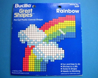 Vintage 1982 Bucilla Great Shapes Rainbow Pre-Cut Plastic Canvas Shape for Needlepoint and Needlecrafts, In Original Package, Item #5629