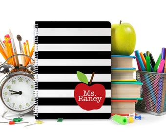 Teacher Gift - Teacher Notebook - Personalized Spiral Notebook - School Supplies - Pick Your School Colors and Monogram Notebook