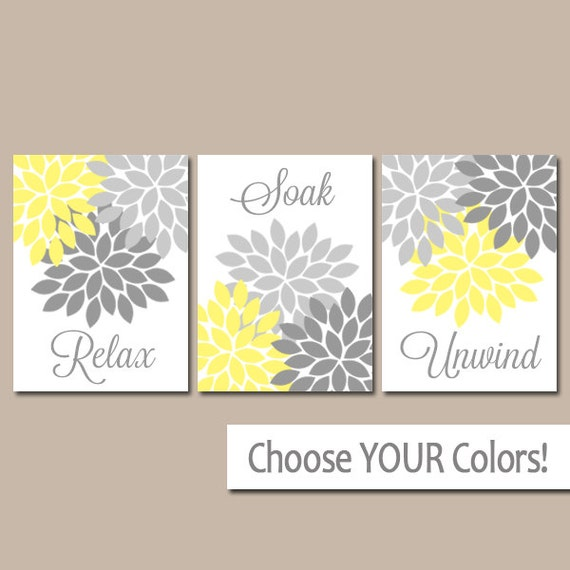 Bathroom Art Grey: Yellow Gray Bathroom Decor BATHROOM Wall Art CANVAS Or