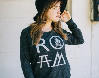 ROAM women's top - slouchy raglan pullover - long sleeved tshirt - camping and hiking print - white and heather black - travel shirt
