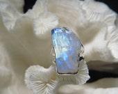Beautiful Rough Iridescent Moonstone  Ring Size 5.5