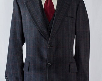 Men's Suit / Vintage Blazer, Vest / Navy Blue 2-Piece / Size 44 #2200