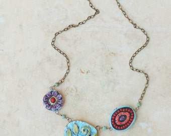 Boho Necklace Mosaic Necklace Tile Necklace Pottery Necklace Statement Jewelry Bib Necklace Colorful Best Friend Gift Gift for Girlfriend