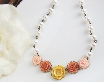 Floral Nature Woodlands Inspired Autumn Fall Flower Necklace. Pink, Pumpkin Orange Butterscotch Necklace. Engagement, Bridal Wedding Gift