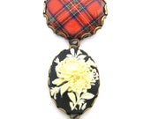 Scottish Tartan Jewelry - Tartans Special Occasion Collection - Royal Stewart Floral Cameo Brooch with Scarlet Red Chinese Crystal Charm