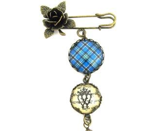 Scottish Tartan Jewelry - Ancient Romance Series - Hope/Weir Clan Tartan Sculpted Rose Brooch with Luckenbooth Charm & Carribbean Swarovski