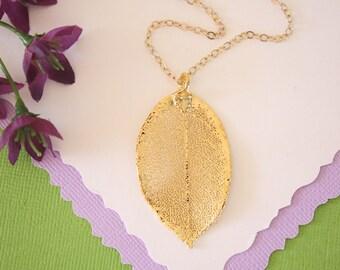 Gold Rose Leaf Necklace, Real Rose Gold Leaf, Real Rose Leaf Necklace, Rose Bush, Gold Filled, LC46