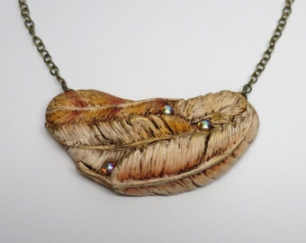 Feather Pendant Necklace, Polymer Clay with Tiny Glass Cabochons