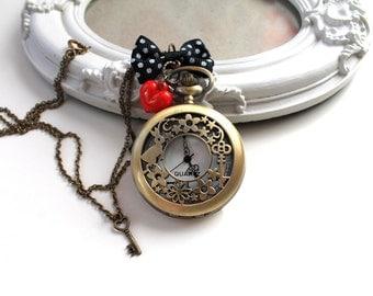 Alice in Wonderland White Rabbit Watch  necklace black bow key
