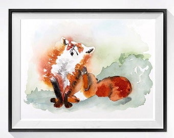 6 Orange Painting Fox Artwork PRINT, Animals in watercolor painting nature art decor, Nursery decor red fox painting, Small wall art  N