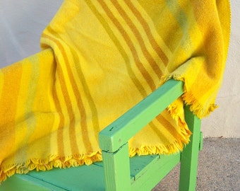 RARE L.F. Foght afghan / 60s Danish Modern throw, Scandinavian afghan, Mid century modern, MCM, gold yellow lime stripes / 48x76 GORGEOUS