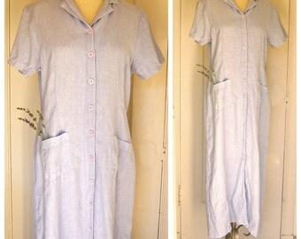 Linen maxi dress / faded blue natural wash, button up, bucket pockets, garden beach boho day dress / womens petite medium lage