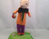 Spun Cotton Rabbit with egg basket by Maria Paula miniature centerpiece