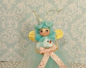 Easter fairy Easter pixie ornament doll blue party pixie toni Kelly original spring decor vintage retro inspired ooak art doll pink and gold