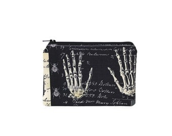 Anatomical Hands Pouch / Realistic Skeleton Hands Bag / Halloween Spells Small Zippered Wallet