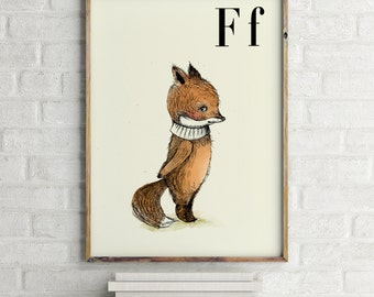 Fox print, nursery animal print, woodland nursery, alphabet letters, abc letters, alphabet print, fox wall art, fox wall decor