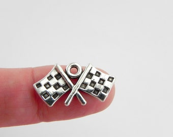 20 Checkered Flag Silver Charms - 12mm x 22mm