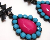 Pink and Blue Rhinestone Cameo Bow Earrings - Large opaque acrylic rhinestones in hot pink and blue with black bow